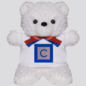 Wood Bock Letter C Teddy Bear