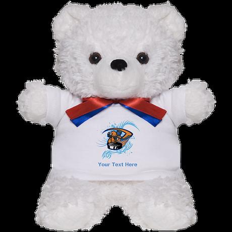 Ice Hockey. Custom Blue Text. Teddy Bear