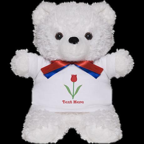 Dark Red Tulip and Text. Teddy Bear