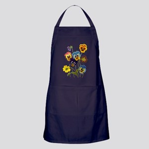 Colorful Embroidered Pansies Apron (dark)