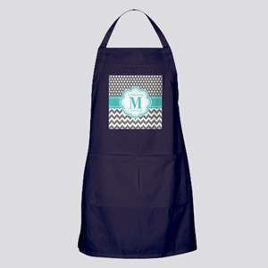 Personalized Polka Dots Chevron Gray Apron (dark)