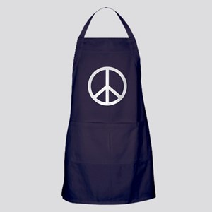 White Peace Symbol Apron (dark)