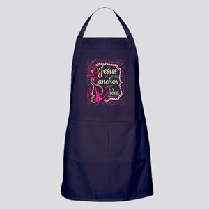 Jesus is the Anchor of my Soul - pink Apron (dark)