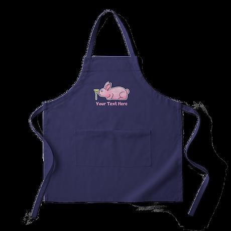 Pink Rabbit, Custom Text. Apron (dark)