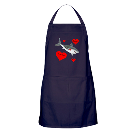 Personalized Shark - Heart Apron (dark)