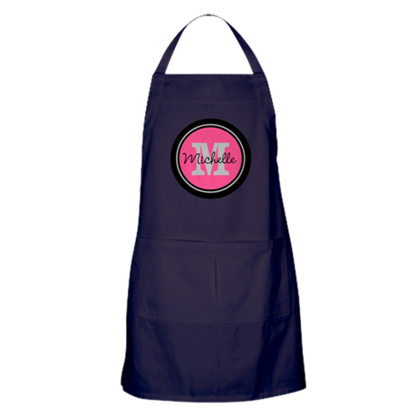 Pink | Black Name Initial Monogram Apron (dark)