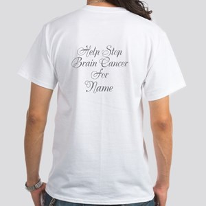 Personalizable Brain Cancer White T-Shirt