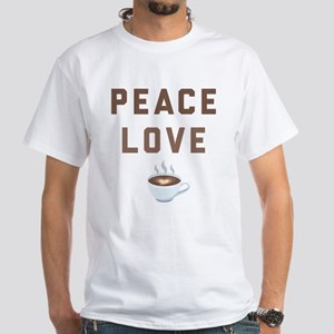 Peace Love Coffee Emoji White T-Shirt