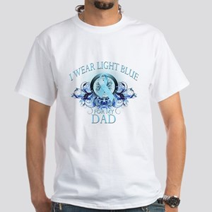 I Wear Light Blue for my Dad (floral) White T-Shir