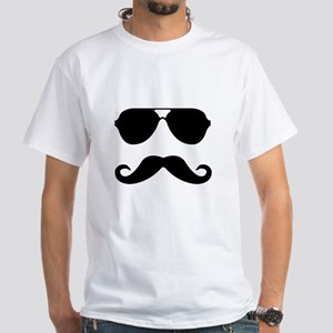 glasses and mustache White T-Shirt