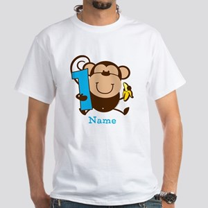Personalized Monkey Boy 1st Birthday White T-Shirt