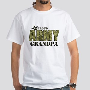 Camo Proud Army Grandpa White T-Shirt