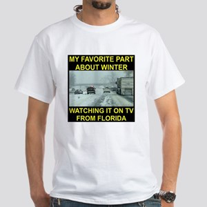 Watching It On TV In FLA White T-Shirt