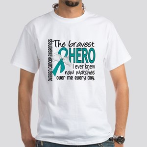 D Ovarian Cancer Bravest Hero I Ever  Dark T-Shirt
