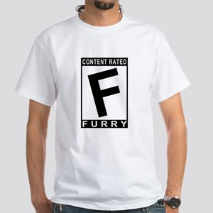 Content rated FURRY White T-Shirt