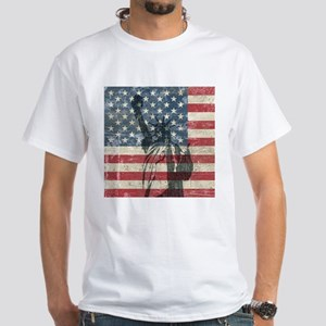 Vintage Statue Of Liberty White T-Shirt
