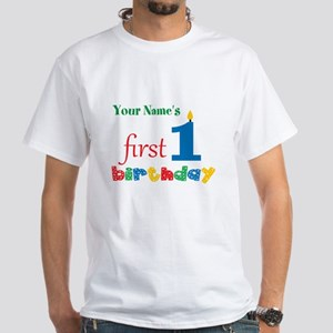 First Birthday - Personalized White T-Shirt