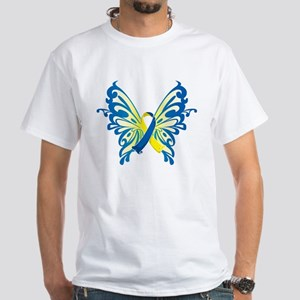 Down Syndrome Butterfly White T-Shirt