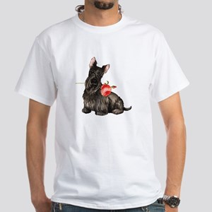 Scottish Terrier Rose White T-Shirt