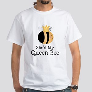She's My Queen Bee Couples White T-Shirt