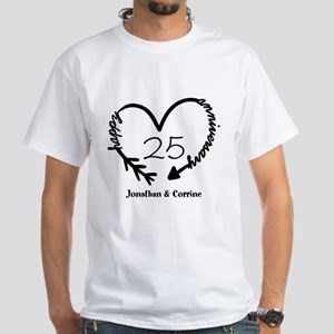 Custom Anniversary Doodle Heart White T-Shirt