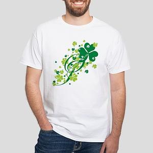 Shamrocks and Swirls White T-Shirt