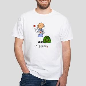 I Garden Stick Figure White T-Shirt
