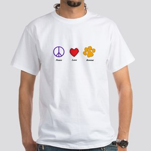 Peace Love and Rescue White T-Shirt