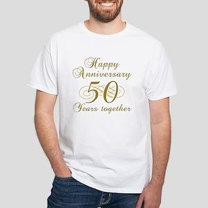 50th Anniversary (Gold Script) White T-Shirt