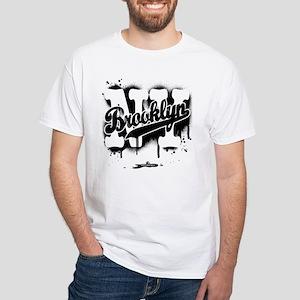 Brooklyn NY Graffiti Spray White T-Shirt