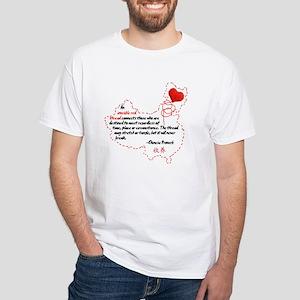 Red Thread on Light White T-Shirt