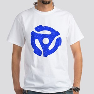 Blue Distressed 45 RPM Adapter White T-Shirt
