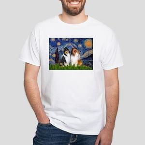 Starry Night / Collie pair White T-Shirt