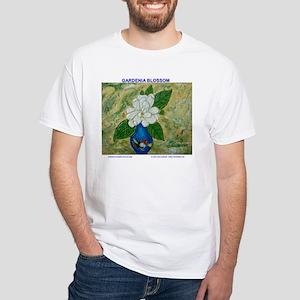Gardenia in Bud Vase White T-Shirt