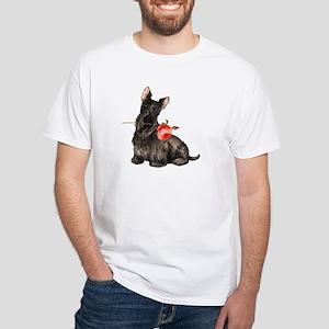 Scottish Terrier Rose White T-Shirt