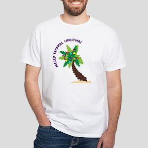 Merry Tropical Christmas White T-Shirt