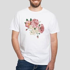 Pink Roses Flower White T-Shirt