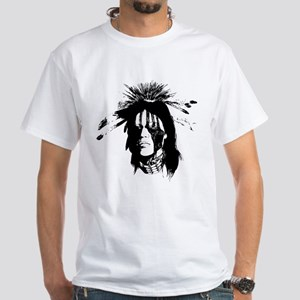 American Indian with Painted Face White T-Shirt