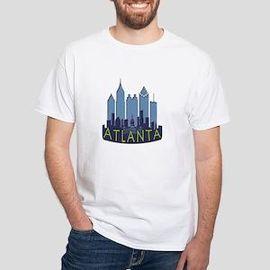 Atlanta Skyline Newwave Cool White T-Shirt