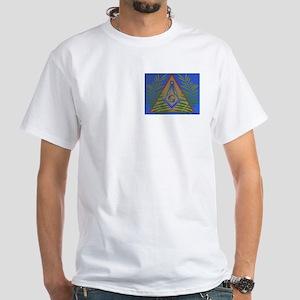 Masonic Acacia in Pyramind Square White T-Shirt