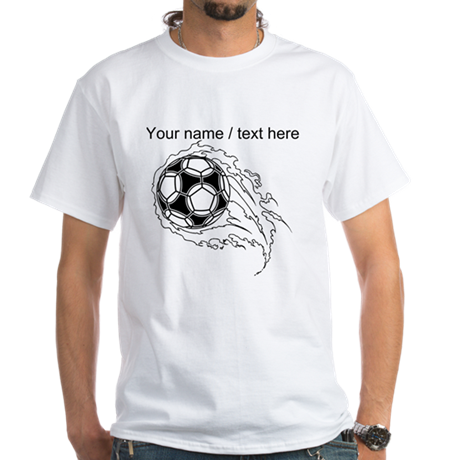 Custom soccer ball on fire t shirt by customsportsgifts for Custom fire t shirts
