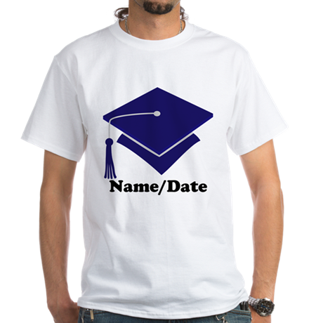 Personalized Navy Blue Graduation White T-Shirt