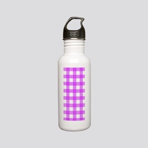 Pink Gingham Pattern Stainless Water Bottle 0.6L
