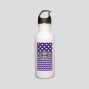 Purple Gray Dots Chevron Personalized Stainless St