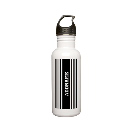 Black and White Stripe Stainless Water Bottle 0.6L
