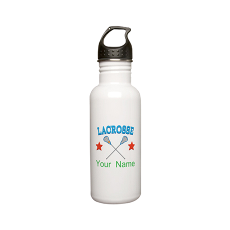 Lacrosse Personalized Star Stainless Water Bottle