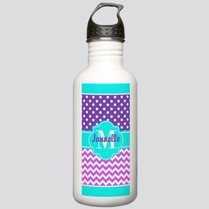Aqua Purple Pink Chevr Stainless Water Bottle 1.0L