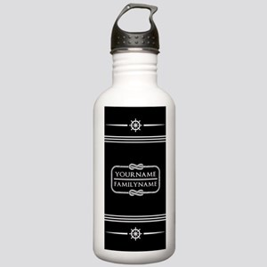 Black and White Nautic Stainless Water Bottle 1.0L