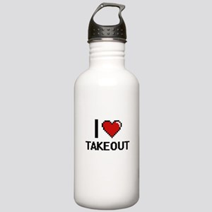 I love Takeout Digital Stainless Water Bottle 1.0L