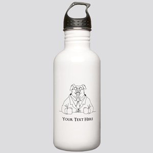 Pig in Suit. Custom Text Stainless Water Bottle 1.